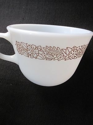 Vintage Pyrex Woodland Brown Floral White Milk Glass Mug Coffee Cup