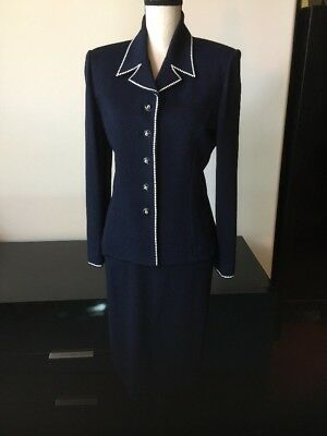 St John Collection By Marie Gray Navy Suit Sz 6 Jacket/Blazer & Skirt