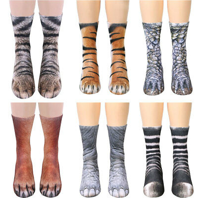 2 Pairs Unisex Women Men Adult Kids 3D Animal Print Sock Paw Crew Cotton Socks