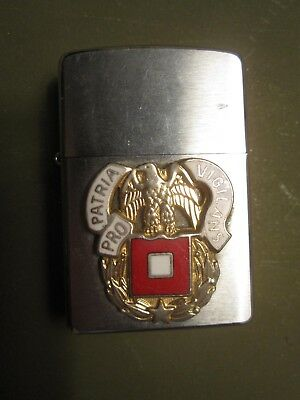 Vtg silver metal Zippo lighter, Army Signal Corps w gold eagle, red & white flag