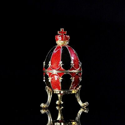 Souvenir Red Black Faberge Egg Ornament Trinket Accessories Collectible Display