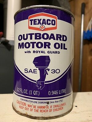 Vintage Texaco Outboard Purple Quart Oil Can FULL NO RESERVE!!