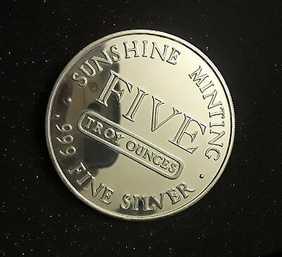 Sunshine Minting Five 999 Fine Silver Silver Eagle 5 Troy Oz Large Round