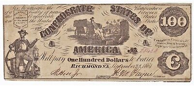 Third Issue EARLY CIVIL WAR 1861 CONFEDERATE STATES OF AMERICA $100 NOTE T-13