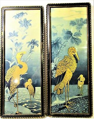 Matched Pr French Aesthetic Movement Early Art Nouveau Exotic Bird Artist Signed