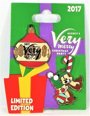 Disney Mickey Very Merry Christmas Party 2017 Chip & Dale 2 Pin Set LE 5300 NEW