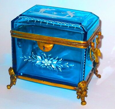 BIG Finest Quality Mary Gregory Mounted Glass Casket Box w/Birds, Faces, Etc WOW