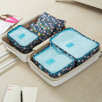 Waterproof 6pcs Travel Bag Storage Luggage Organizer Pouch Packing Cubes Leopard
