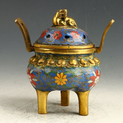 Chinese Exquisite Cloisonne Hand Carved Flower Incense Burner AAA0146