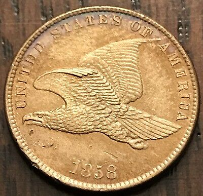 1858 1C Small Letters Flying Eagle Cent UNCIRCULATED Gem MS/BU Penny $.01 NR!