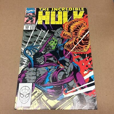 INCREDIBLE HULK #375 1990 vs the Super Skrull! Keown art Marvel Comics