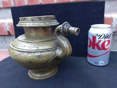 """ANTIQUE BRONZE OIL-VASE from India, beautiful engraved, appr.100 years old! 6.5"""""""