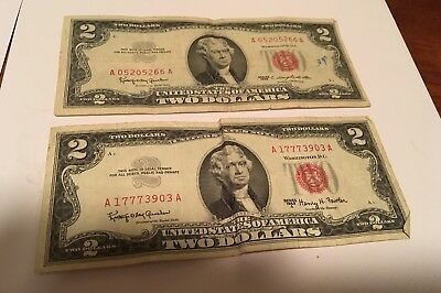 1963  And 1963 A Two Dollar $2 Bill Series  *Red Seal*
