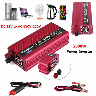 2000W DC 12V to AC 110V Car Power Inverter Charger Converter for Electronic*