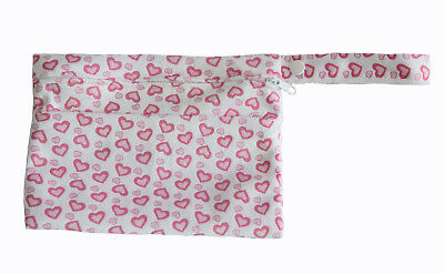 Pink Hearts Mini Wet Bag For Menstrual Breast & Pads + Reusable Waterproof NEW!