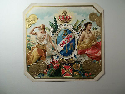 Antique Cigar Box Label Maidens With Crest Embossed