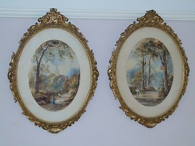 Victorian Watercolour Paintings In Rococo Frames 1857/1859 by Pollard Sisters.