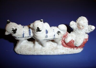 All Bisque Snow Baby With Dog Sled Snowbabies Christmas