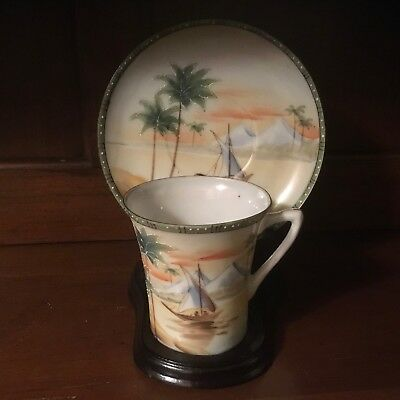 Vintage Hand Painted Nippon Chocolate Cup and Saucer Set