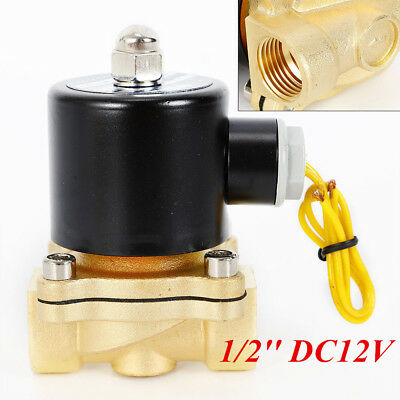 """DC12V Electric Solenoid Valve Switch Water Air 1/2"""" Brass Normally Closed N/C"""