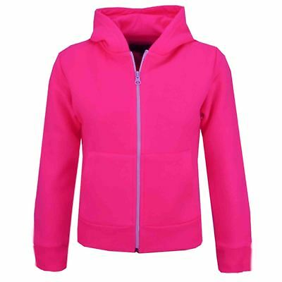 Kids Girls Unisex Plain Fleece Neon Pink Hoodie Zip Up Style Zipper Age 2-13 Yrs