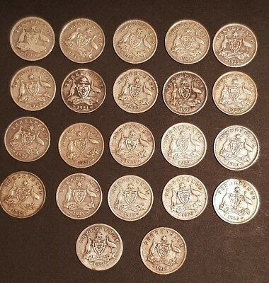 AUSTRALIA - 22x SILVER THREE PENCE COINS - Variety of dates