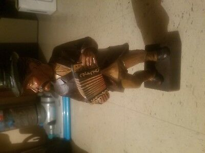 Vintage Karl Griesbaum Hand Wood Carved Whistler Accordion Player Music Box