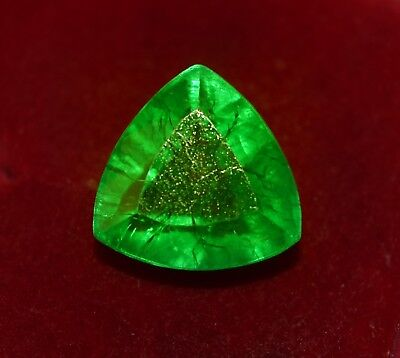 5.90 Cts GGL Certified Natural Green Emerald, Trillion Shape Zambian Gem