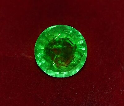 GGL Certified Natural Green Emerald, 4.70 CT Round Shape Zambian Gem
