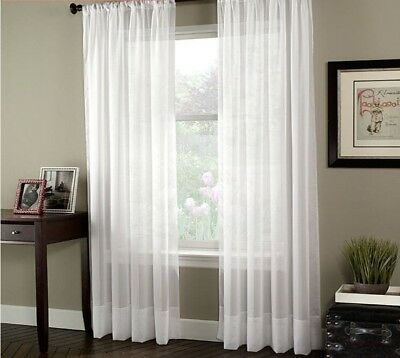 White Tulle Sheer Window Curtains Solid Fabric Bedroom Living Room Drape Panels