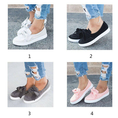 AU~ Women Girls Lint Abrasive Cloth Bowknot Flat Shoes Casual Canvas Sneakers
