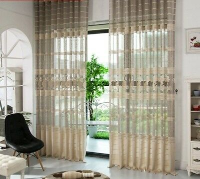 Gray Modern Tulle Sheer Window Curtains Bedroom Living Room Fabric Voile Drapes