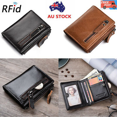 Mens RFID Blocking Genuine Leather Bifold Wallet Anti Scan Zip Coin Pocket Purse