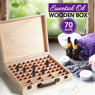 70 Slots Aromatherapy Essential Oil Storage Box Wooden Case Container Holder OZ