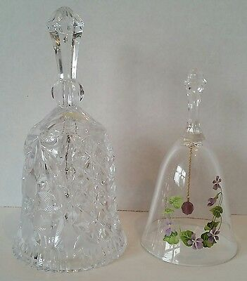 Clear Glass Etched & Purple Yellow Flower Bells Decorative Collectible Crystal
