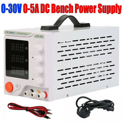 30V 5A Adjustable DC Bench Power Supply Precision Variable Digital Lab &Cable UK