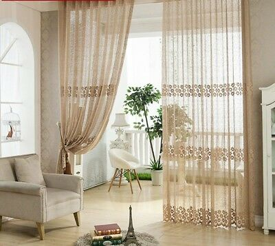 Floral Brown Tulle Sheer Window Curtain Kitchen Bedroom Living Room Fabric Drape