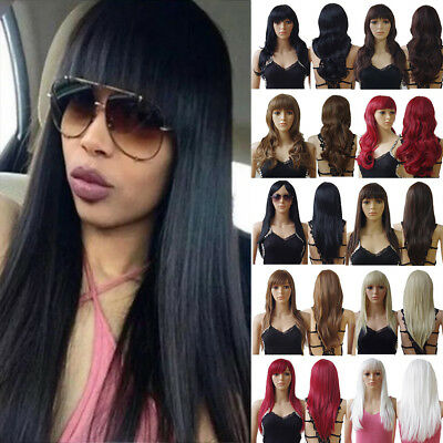 Natural Full Wig Long Straight With Fringe Synthetic Hair Wig Ladies Daily Wig Z