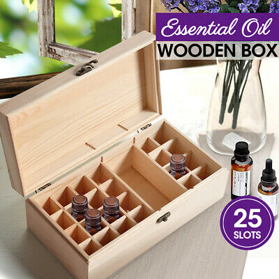 Essential Oil Storage Box Wooden 25 Slots Aromatherapy Container Organiser AU