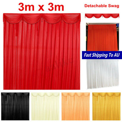 Silk Satin Wedding Stage Backdrop Curtain Drape Party Decor Detachable Swag 3x3M