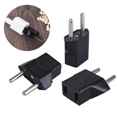 2x American US to European EU Travel Adapter Power Jack Plug Outlet Converter