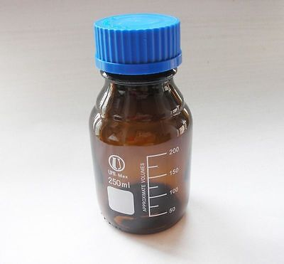 250mL Amber Brown Lab Glass Reagent bottle w cap autoclavable heavy wall 3023 QL