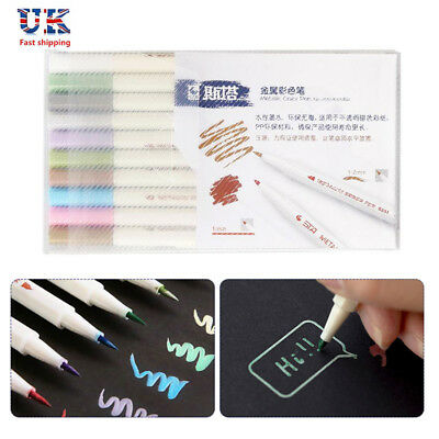 10 Metallic Pens Paint Marker For Paper Gift Card Glass Wood Metal Fabric Rock