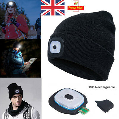 UK Unisex LED Beanie Hat With USB Rechargeable Battery High Powered Light Black