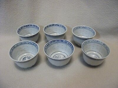 Lot of 6 Chinese, Blue & White Porcelain Tea Cups