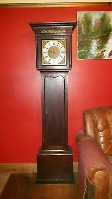 Antique English Solid Oak Brass Dial Longcase Grandfather Clock, F Berry Hitchin