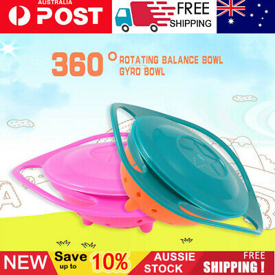 Baby Kids 360 Rotating Food Spill-Proof Bowl Non Spill Feeding Toddler Dishes AU