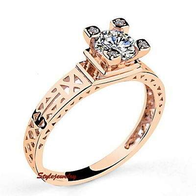Eiffel Tower Simulated Diamond Rose Gold Ring Princess Party Couple Ring sz 6-7