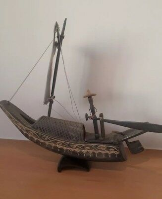 Chinese? Boat Ox Horn? Ornamental Fishing Boat & Figure 30Cm Long. Lovely