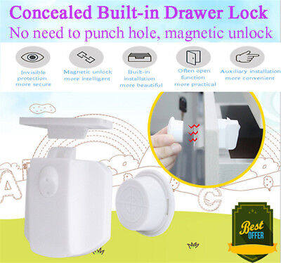 10Pcs Portable Safety Locks Magnetic Cabinet Drawer Cupboard Lock For Kids Child